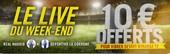 Chaque week-end Winamax vous offre 10€ pour miser en Live sur le foot
